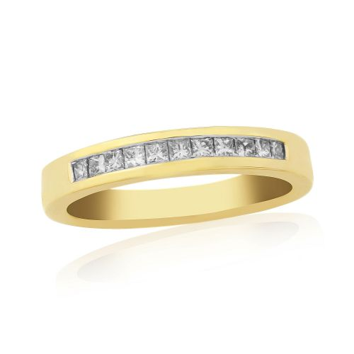 Princess Cut Eternity Ring Diamond Yellow Gold Channel Set 25 Points